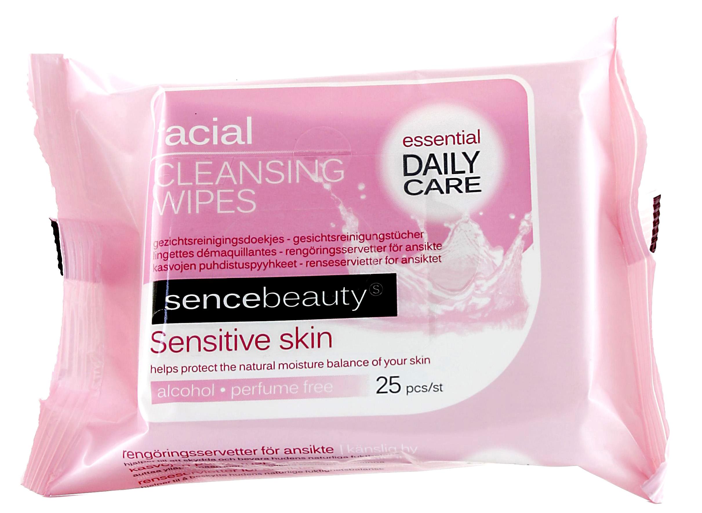 00639 - sence beauty Gesichtsreinigungstücher 25er, alkohol- & parfümfrei