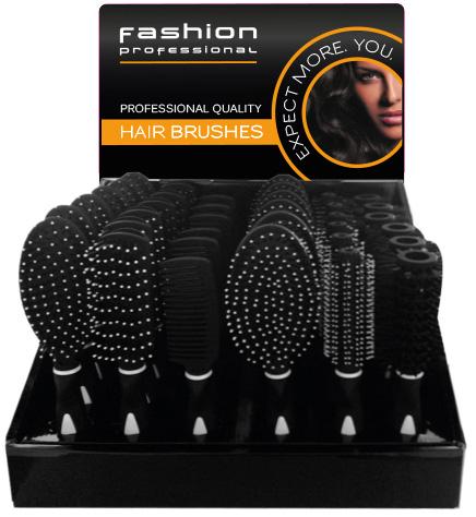 00640 - fashion professional Haarbürsten im 36er Display, 6-fach sortiert