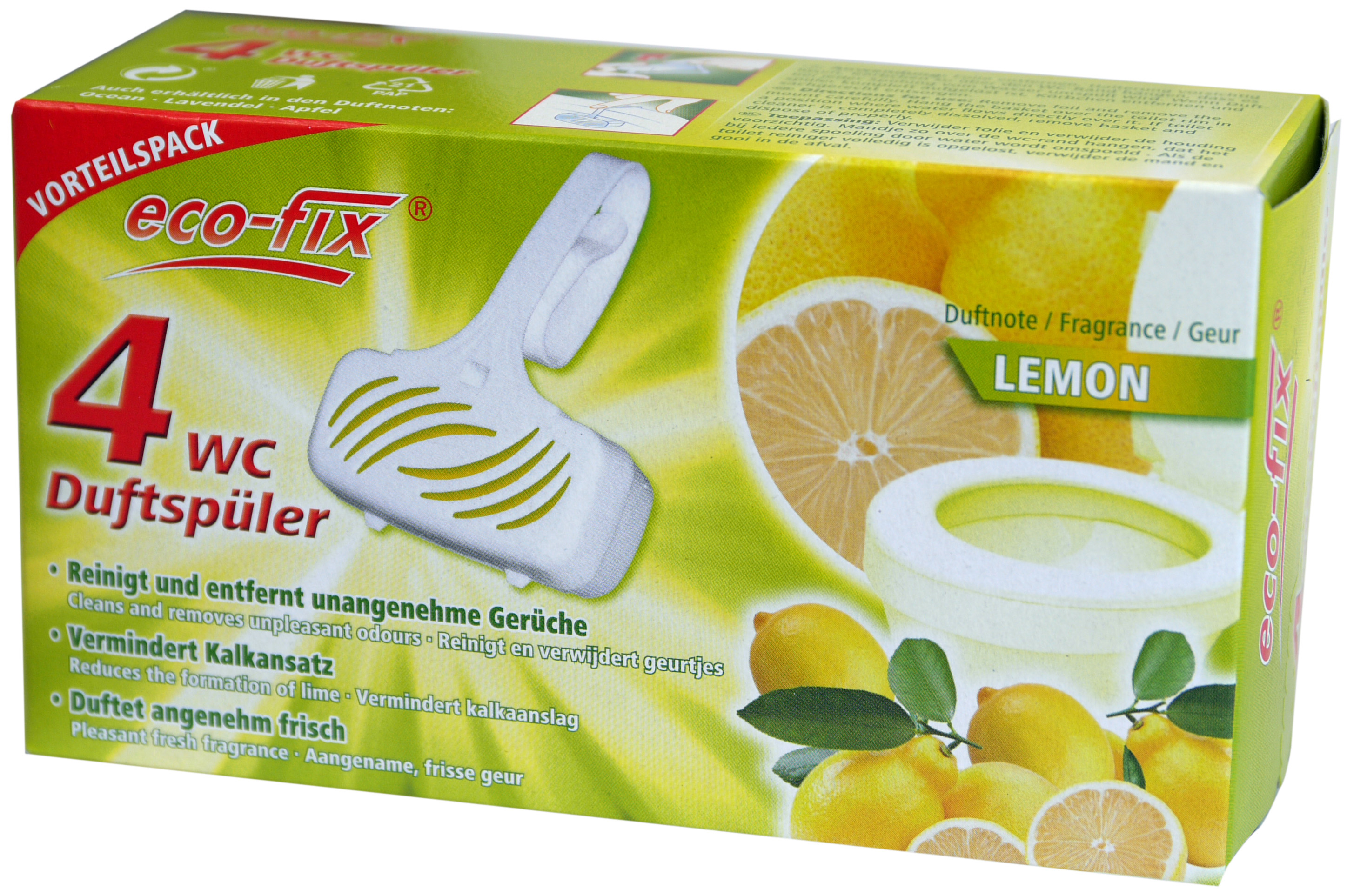 00851 - eco-fix 4er WC Duftspüler -Lemon- 4 x33g