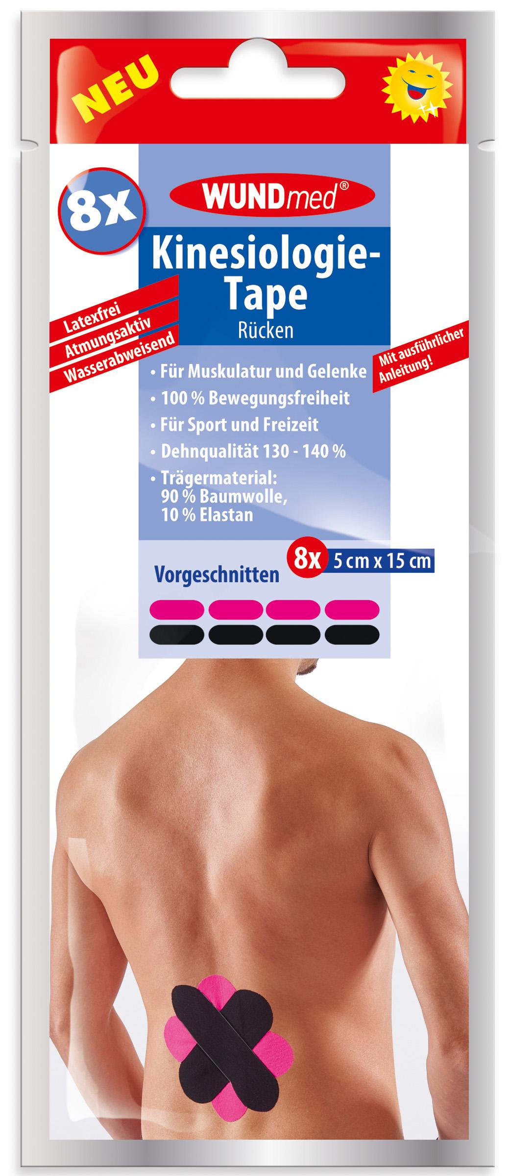 01772 - Wundmed Kinesiologie-Tape, Rücken, vorgeschnitten, 5x15cm, 8er