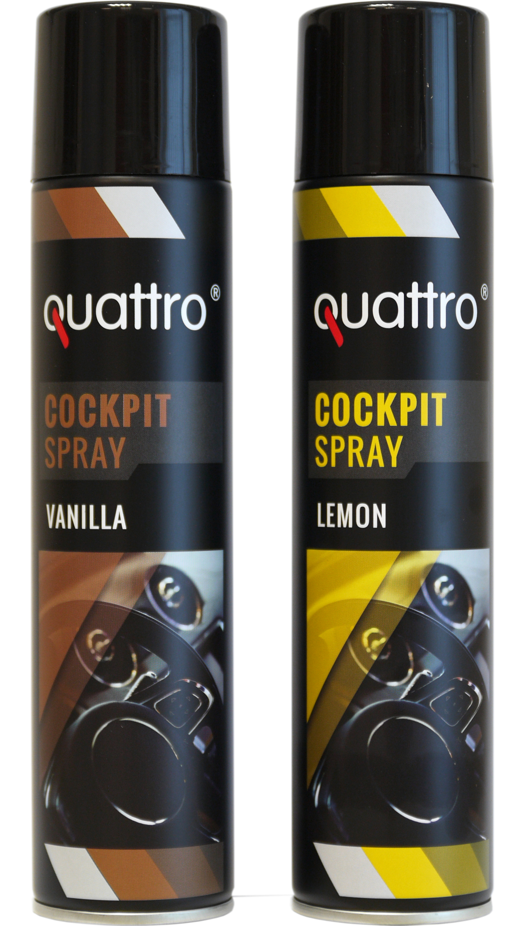 00719 - quattro Cockpit Spray 300 ml, 2-fach sortiert: 6x Vanille & 6x Lemon