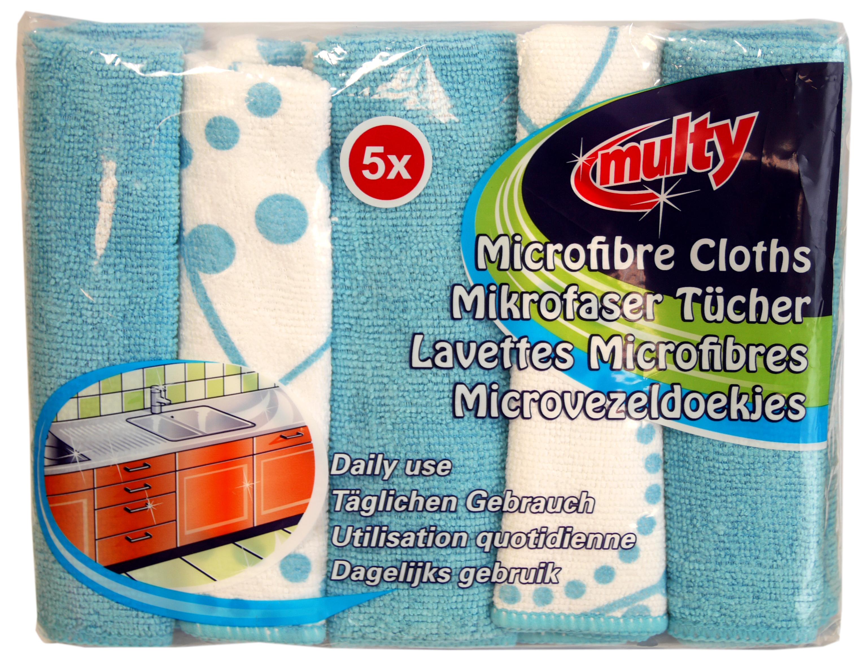 01211 - multy Mikrofasertücher 5er, farbig sortiert, ca. 35x35 cm