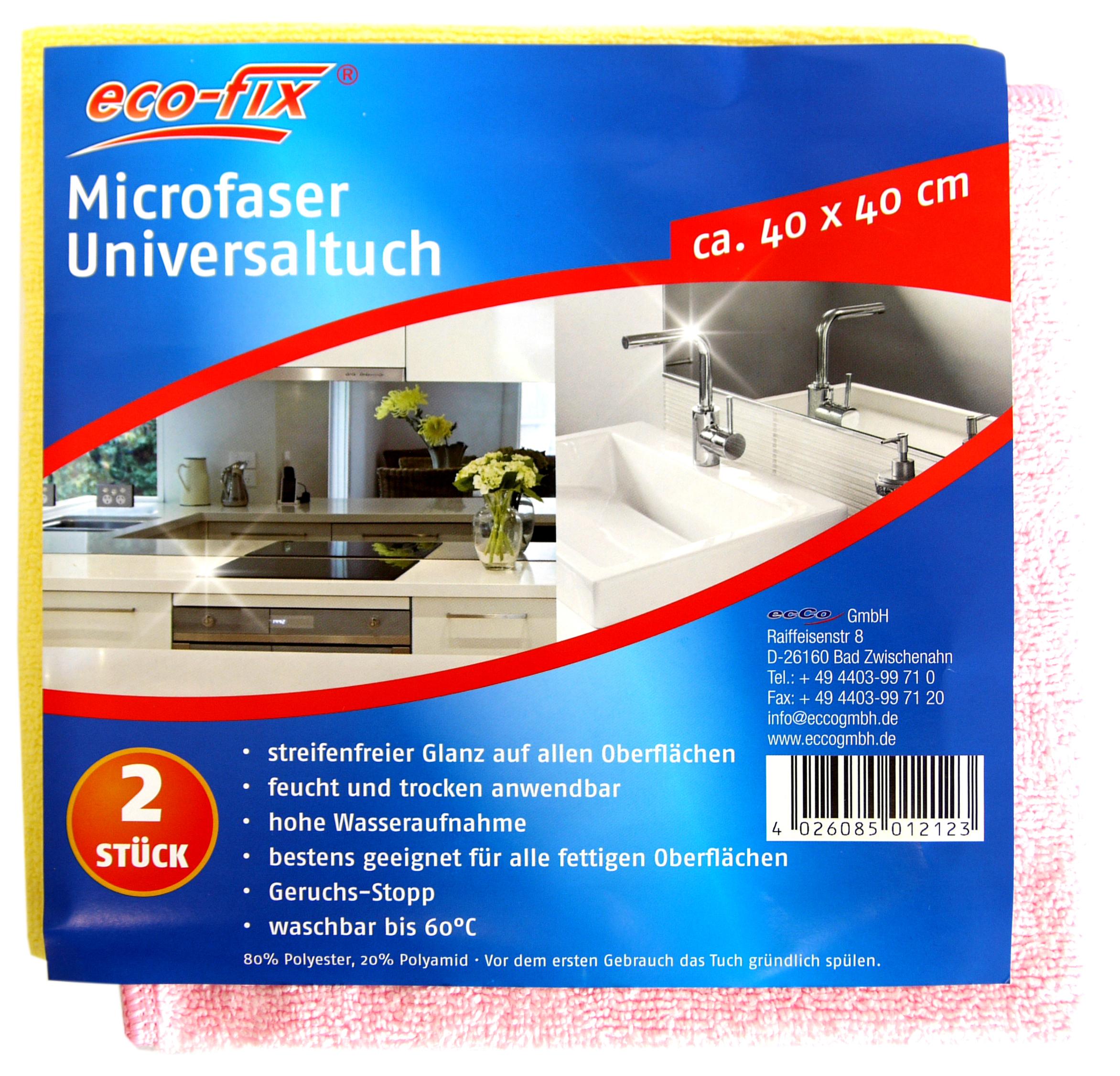 01212 - eco-fix Microfasertücher 2er, 40x40cm