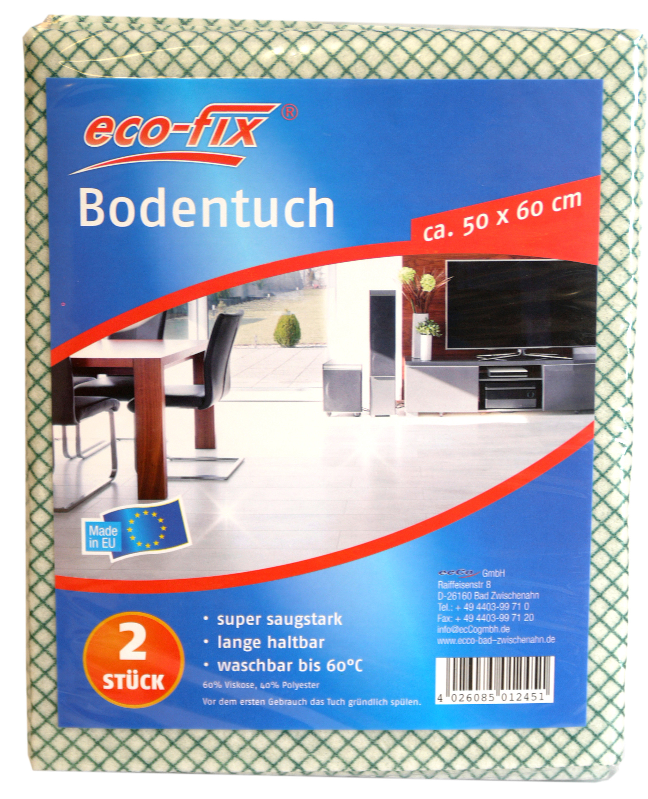 01245 - eco-fix Bodentuch 2er Vlies, 50x60cm