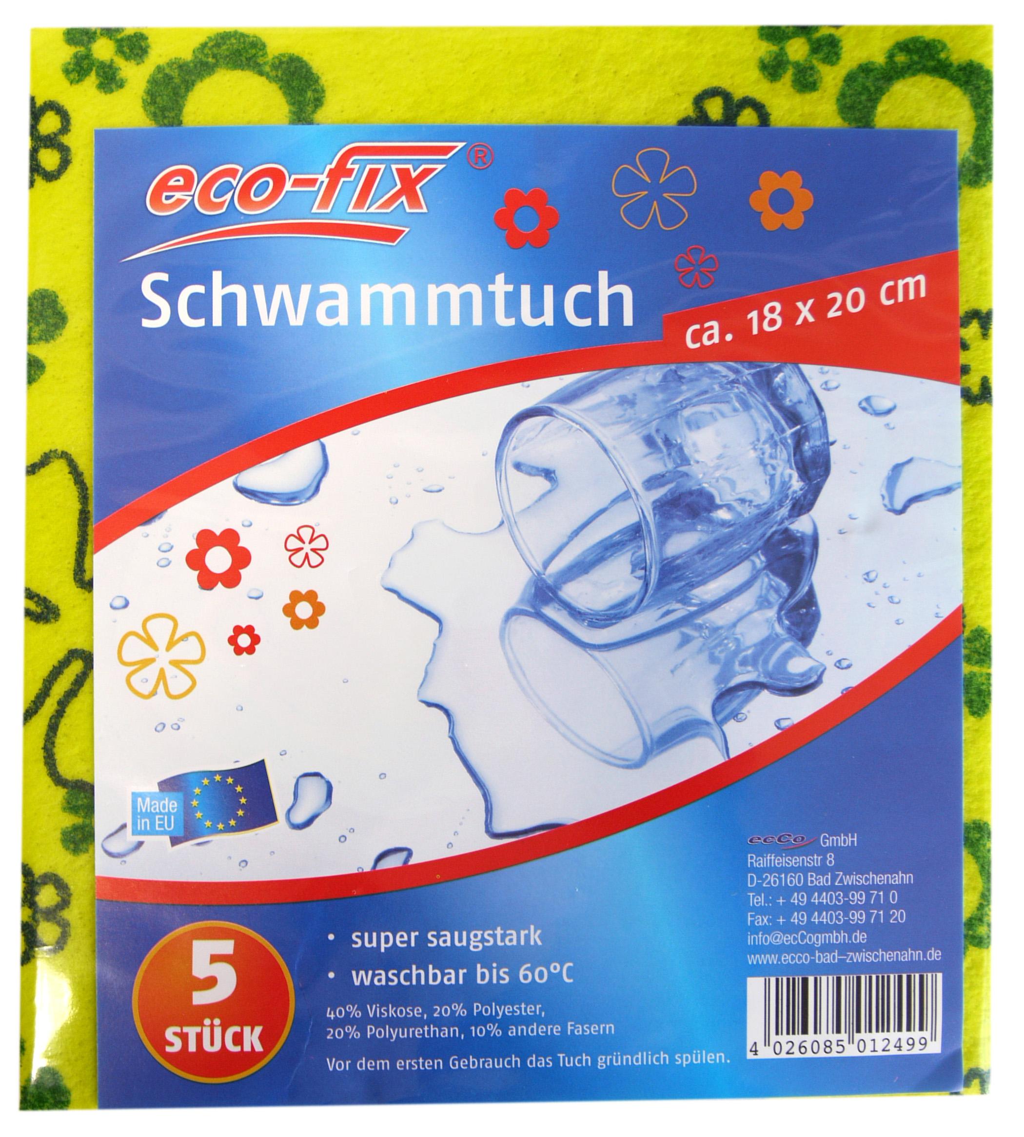 01249 - eco-fix Schwammtücher floral 5er, 18x20cm
