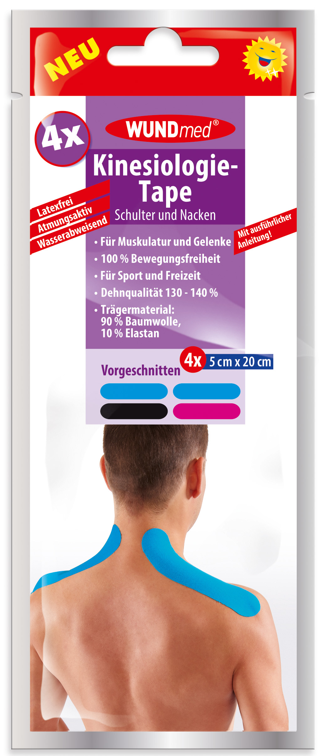 01771 - Wundmed Kinesiologie-Tape, Schulter & Nacken, vorgeschnitten, 5x20cm, 4er