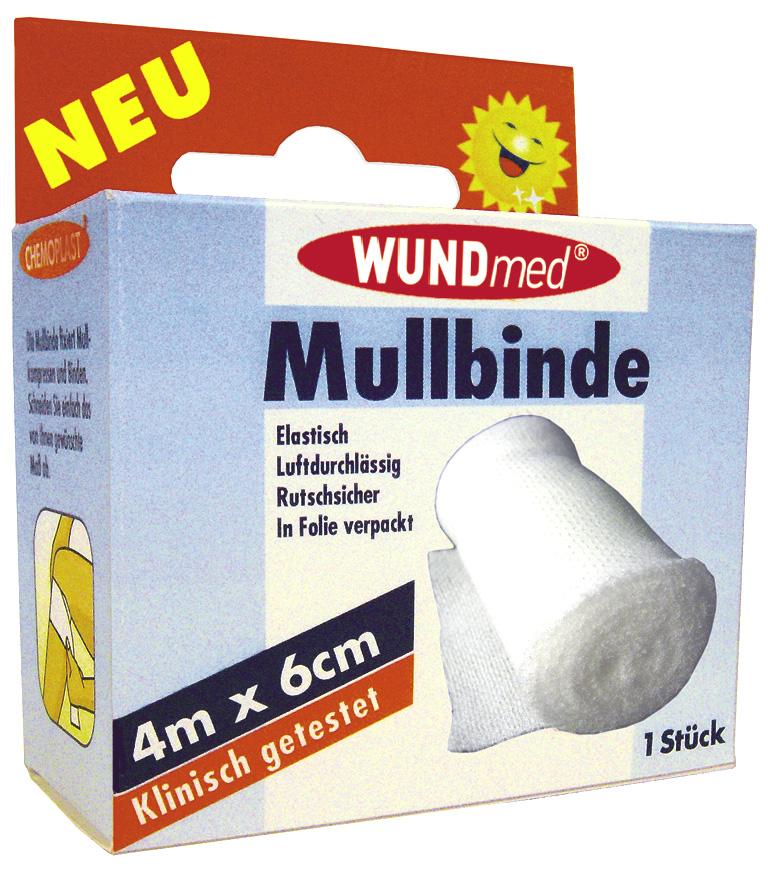 01813 - Mullbinde 4m x 6cm, Schachtel