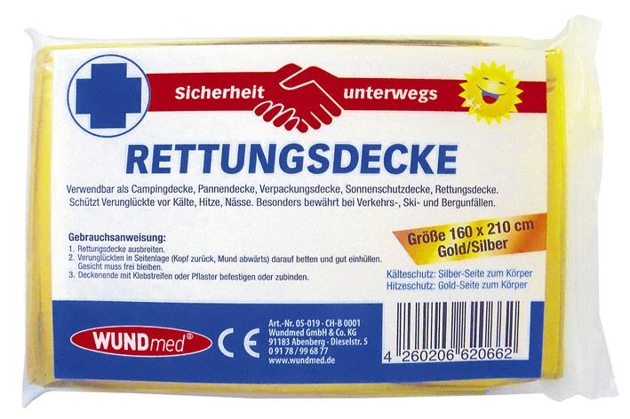 01818 - Rettungsdecke 160 x210cm, gold-silber
