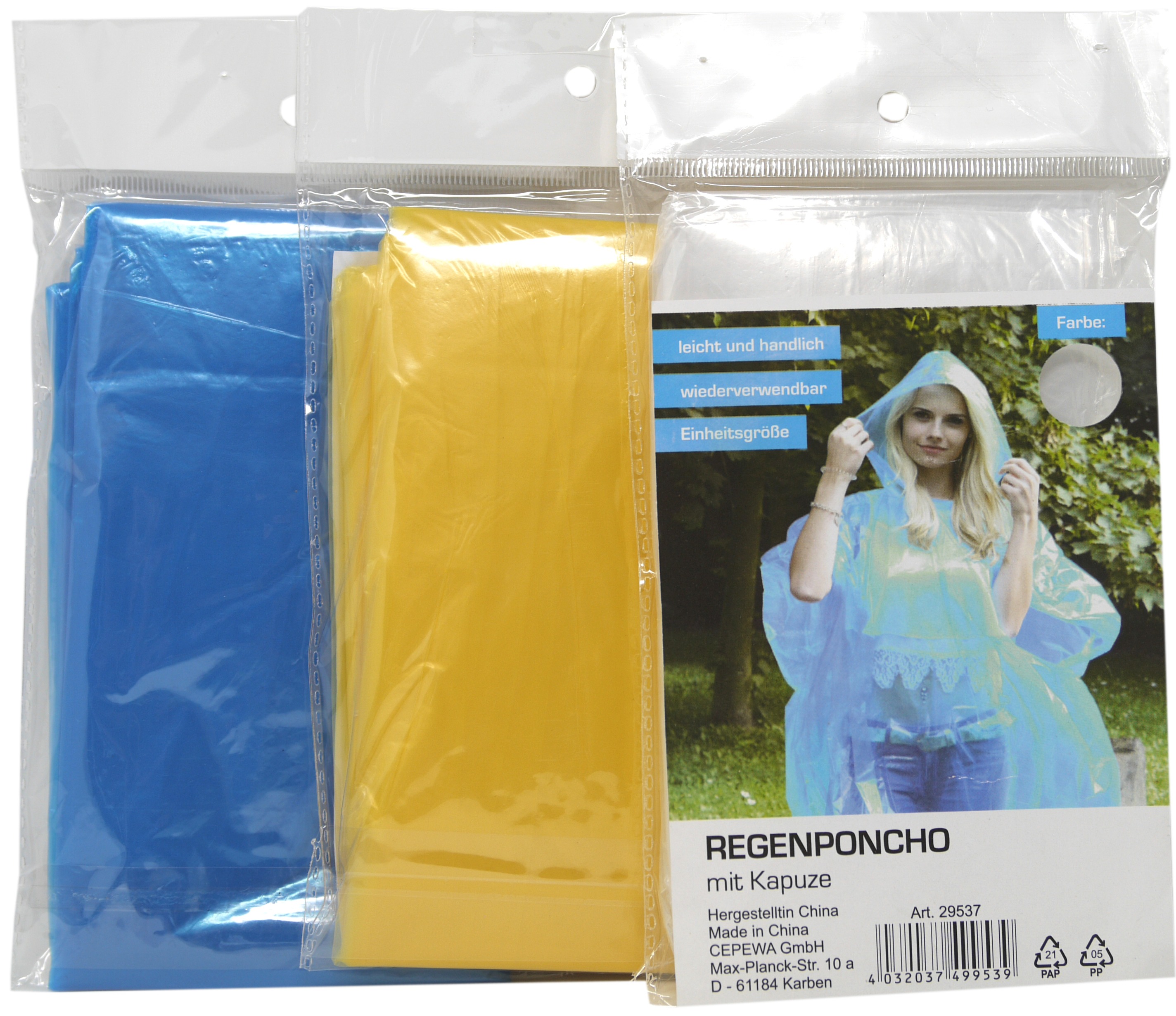 01819 - Regenponcho f. Erwachsene mit Kapuze, farbig sortiert